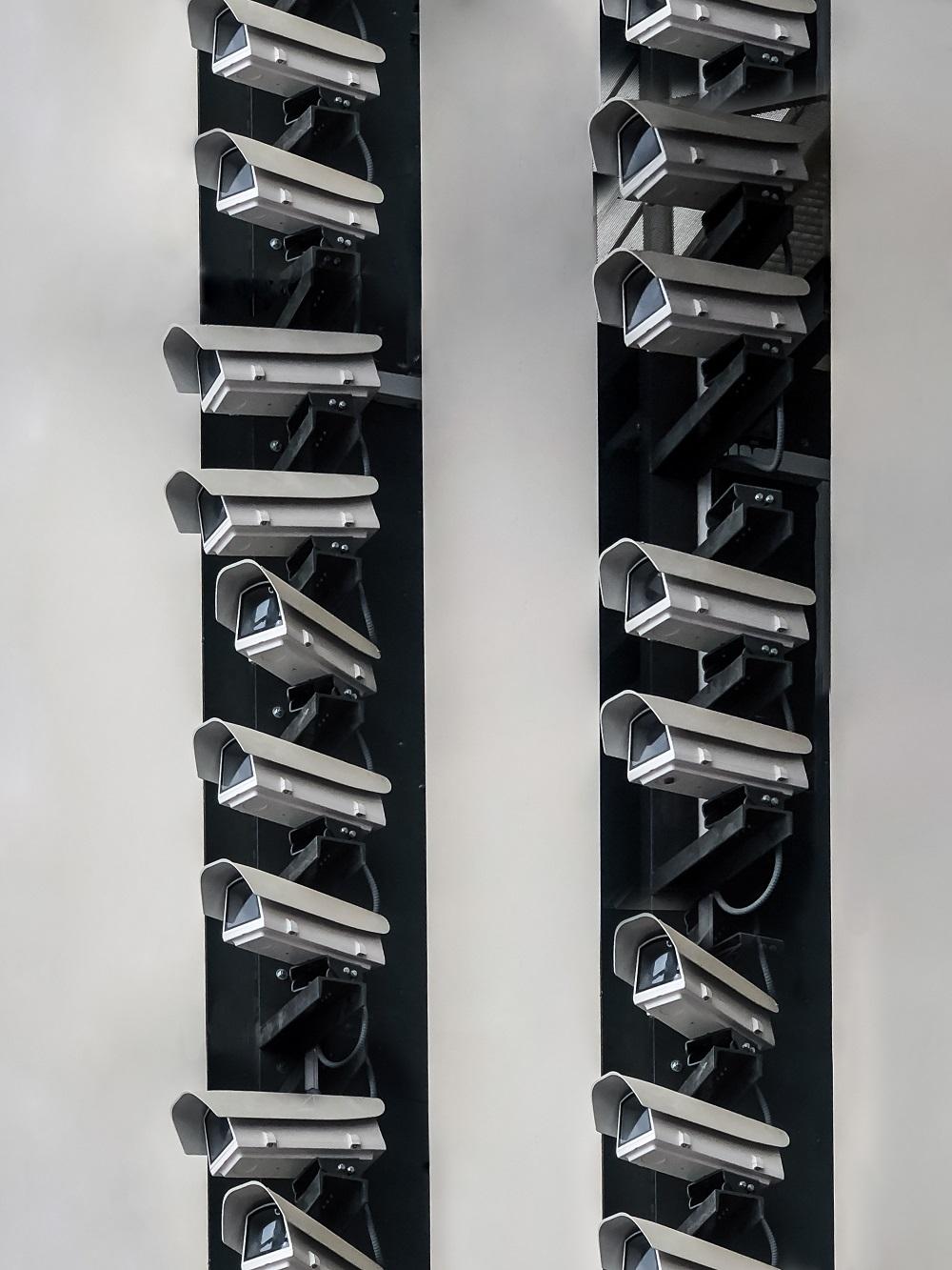 Wall Full of Surveillance Cameras